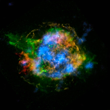 This is the first map of radioactivity in a supernova remnant, the blown-out bits and pieces of a massive star that exploded. The blue color shows radioactive material mapped in high-energy X-rays using NuSTAR. Heated, non-radioactive elements previously